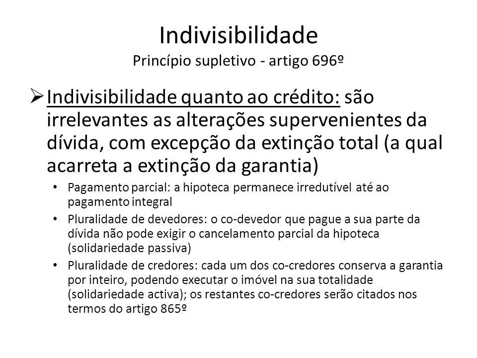 Indivisibilidade Princípio supletivo - artigo 696º Indivisibilidade quanto ao crédito: são irrelevantes as alterações supervenientes da dívida, com ex