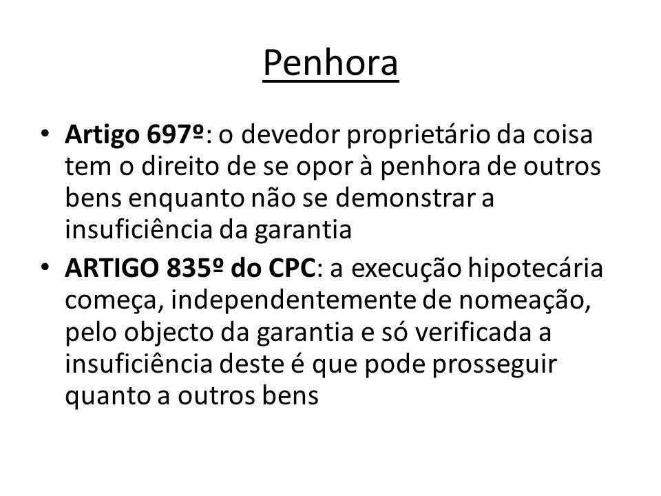 Penhora Artigo 697º: o devedor proprietário da coisa tem o direito de se opor à penhora de outros bens enquanto não se demonstrar a insuficiência da g