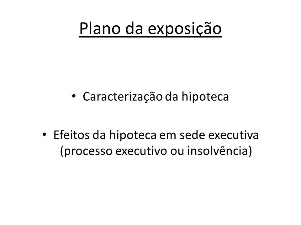 Plano da exposição Caracterização da hipoteca Efeitos da hipoteca em sede executiva (processo executivo ou insolvência)