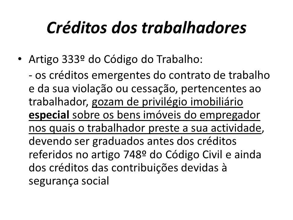Créditos dos trabalhadores Artigo 333º do Código do Trabalho: - os créditos emergentes do contrato de trabalho e da sua violação ou cessação, pertence