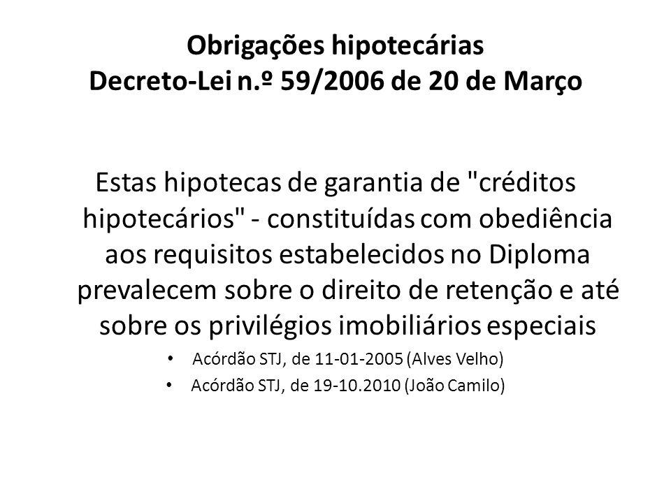 Obrigações hipotecárias Decreto-Lei n.º 59/2006 de 20 de Março Estas hipotecas de garantia de
