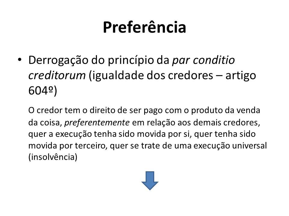 Preferência Derrogação do princípio da par conditio creditorum (igualdade dos credores – artigo 604º) O credor tem o direito de ser pago com o produto