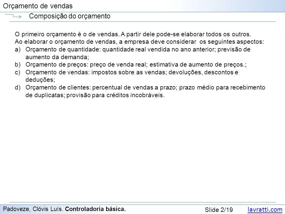 lavratti.com Slide 2/19 Orçamento de vendas Composição do orçamento Padoveze, Clóvis Luís.
