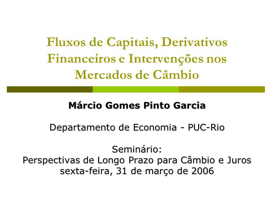 Fluxos de Capitais, Derivativos Financeiros e Intervenções nos Mercados de Câmbio Márcio Gomes Pinto Garcia Departamento de Economia - PUC-Rio Seminário: Perspectivas de Longo Prazo para Câmbio e Juros sexta-feira, 31 de março de 2006