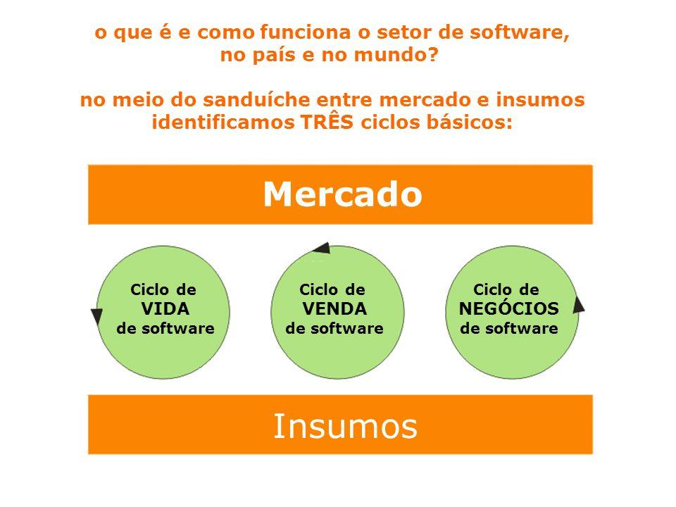 Mercado Insumos Ciclo de VIDA de software Ciclo de VENDA de software Ciclo de NEGÓCIOS de software o que é e como funciona o setor de software, no país e no mundo.