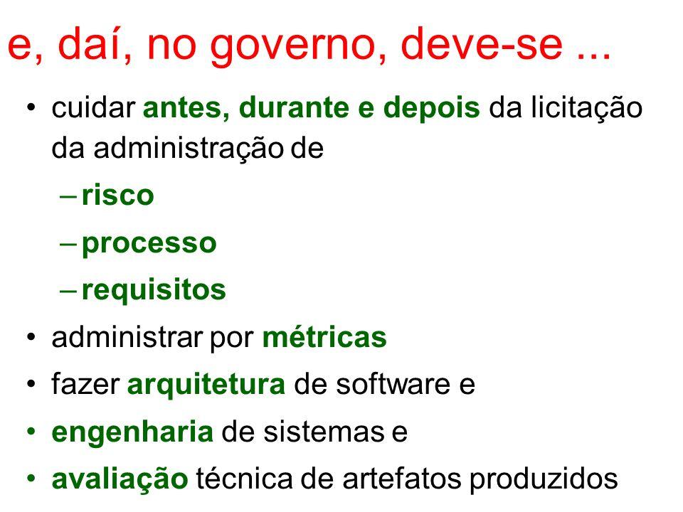 e, daí, no governo, deve-se... cuidar antes, durante e depois da licitação da administração de –risco –processo –requisitos administrar por métricas f