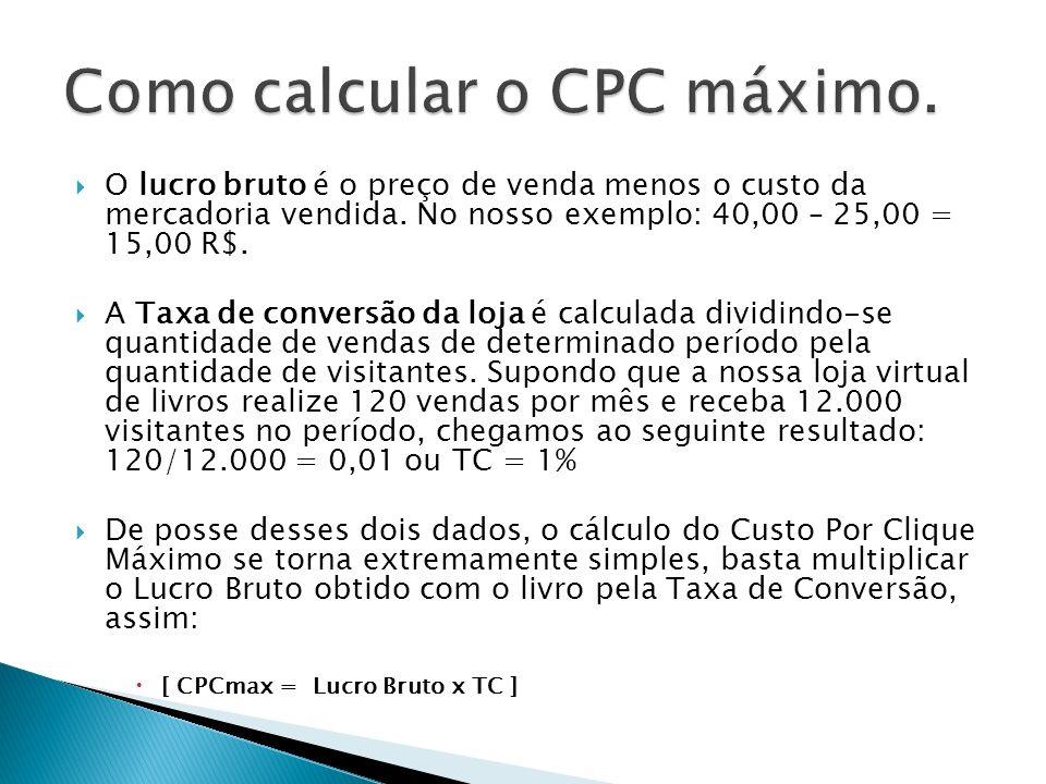 O lucro bruto é o preço de venda menos o custo da mercadoria vendida. No nosso exemplo: 40,00 – 25,00 = 15,00 R$. A Taxa de conversão da loja é calcul
