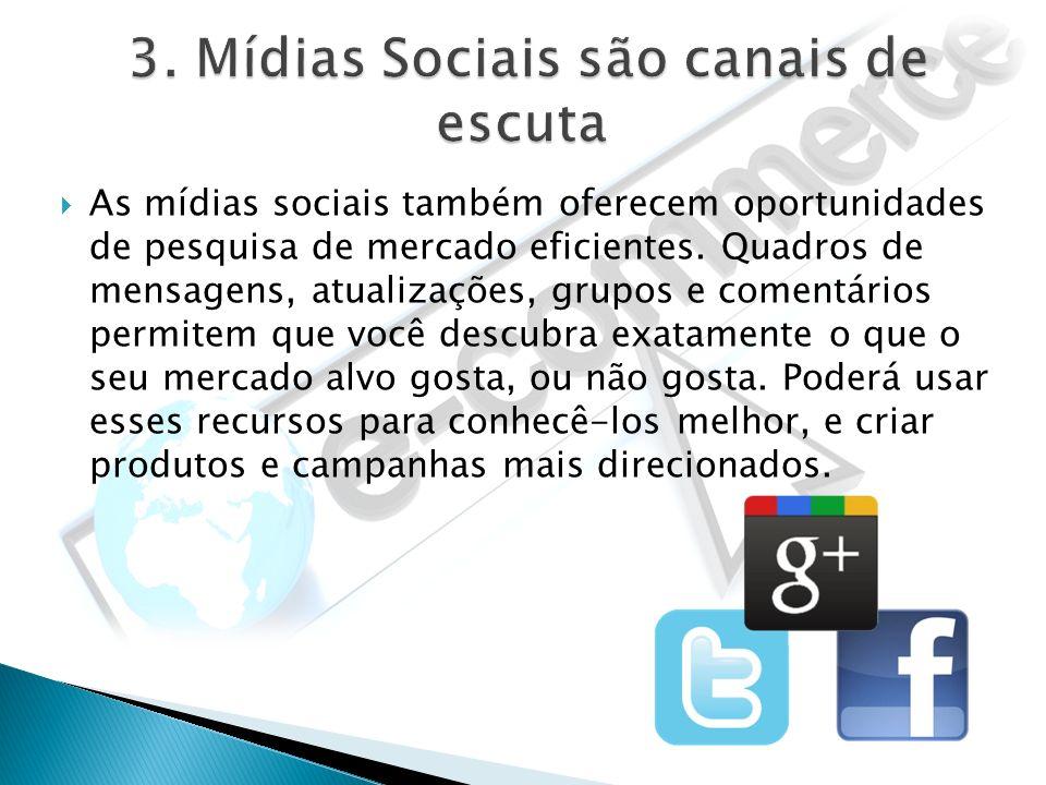 As mídias sociais também oferecem oportunidades de pesquisa de mercado eficientes. Quadros de mensagens, atualizações, grupos e comentários permitem q