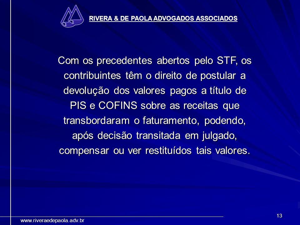 13 RIVERA & DE PAOLA ADVOGADOS ASSOCIADOS www.riveraedepaola.adv.br Com os precedentes abertos pelo STF, os contribuintes têm o direito de postular a