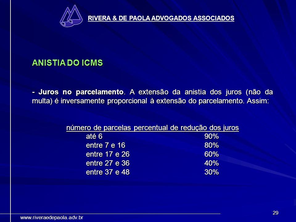 29 RIVERA & DE PAOLA ADVOGADOS ASSOCIADOS www.riveraedepaola.adv.br ANISTIA DO ICMS - Juros no parcelamento. A extensão da anistia dos juros (não da m