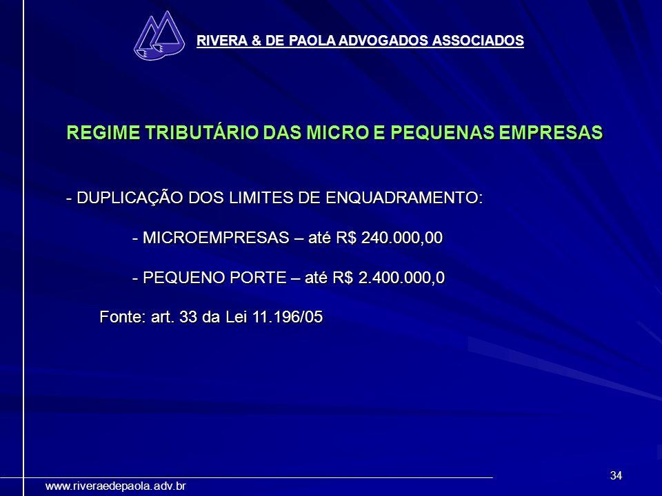 34 RIVERA & DE PAOLA ADVOGADOS ASSOCIADOS www.riveraedepaola.adv.br REGIME TRIBUTÁRIO DAS MICRO E PEQUENAS EMPRESAS - DUPLICAÇÃO DOS LIMITES DE ENQUAD