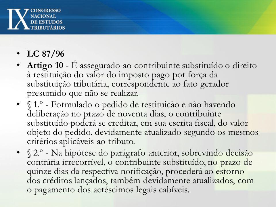 LC 87/96 Artigo 10 - É assegurado ao contribuinte substituído o direito à restituição do valor do imposto pago por força da substituição tributária, c