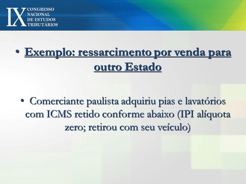 Exemplo: ressarcimento por venda para outro Estado Exemplo: ressarcimento por venda para outro Estado Comerciante paulista adquiriu pias e lavatórios