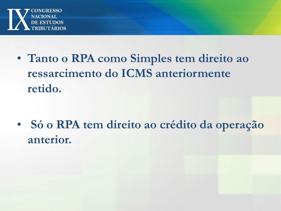 Tanto o RPA como Simples tem direito ao ressarcimento do ICMS anteriormente retido. Só o RPA tem direito ao crédito da operação anterior.