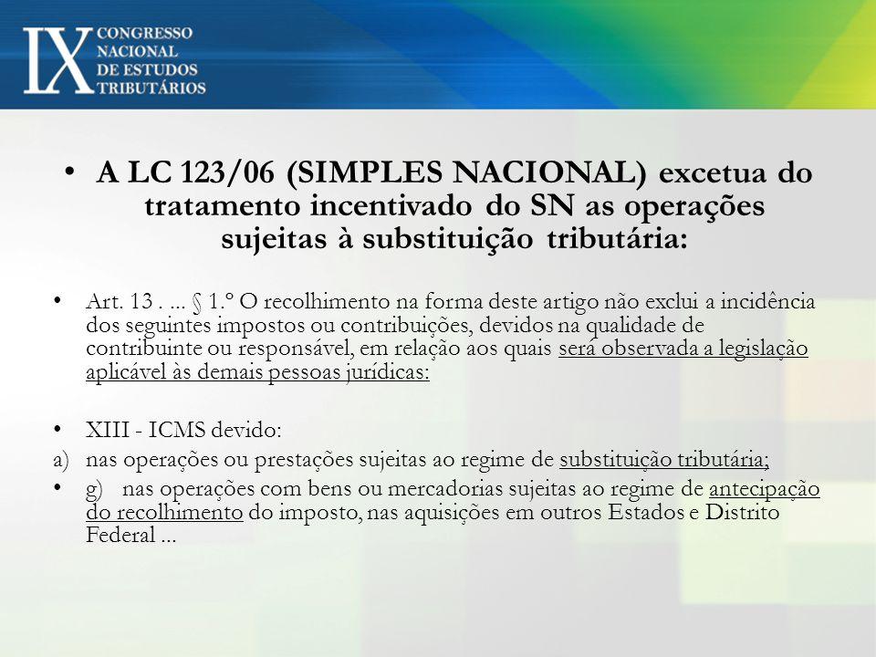 A LC 123/06 (SIMPLES NACIONAL) excetua do tratamento incentivado do SN as operações sujeitas à substituição tributária: Art. 13.... § 1.º O recolhimen