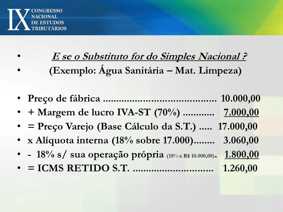 E se o Substituto for do Simples Nacional ? (Exemplo: Água Sanitária – Mat. Limpeza) Preço de fábrica.......................................... 10.000