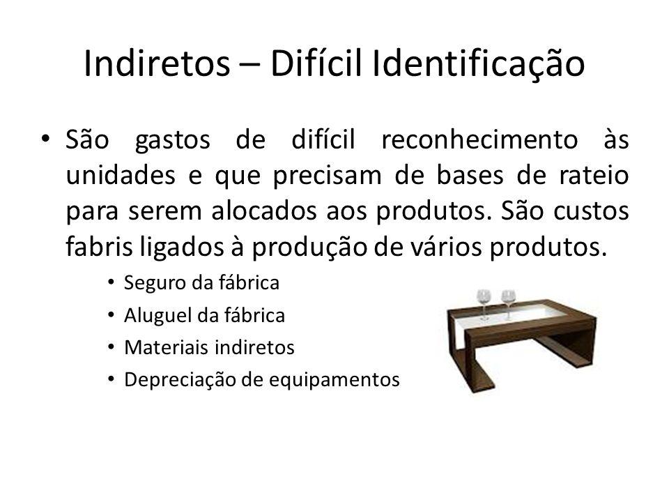 Indiretos – Difícil Identificação São gastos de difícil reconhecimento às unidades e que precisam de bases de rateio para serem alocados aos produtos.