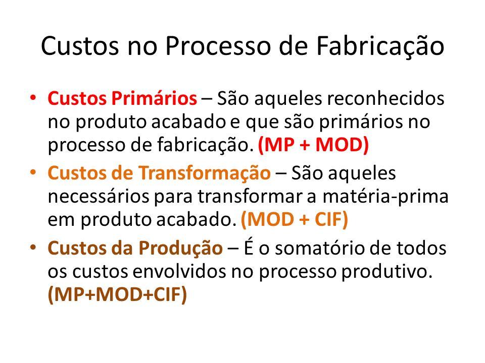Custos no Processo de Fabricação Custos Primários – São aqueles reconhecidos no produto acabado e que são primários no processo de fabricação. (MP + M