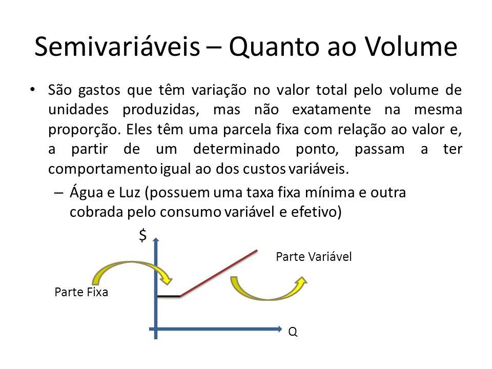 Semivariáveis – Quanto ao Volume São gastos que têm variação no valor total pelo volume de unidades produzidas, mas não exatamente na mesma proporção.