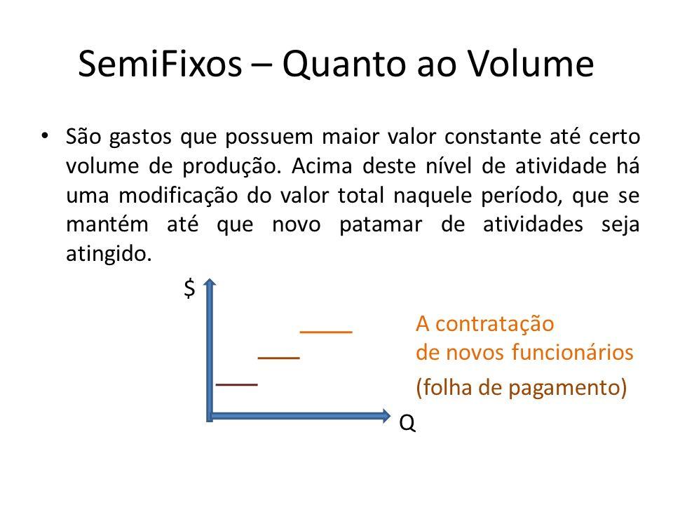 SemiFixos – Quanto ao Volume São gastos que possuem maior valor constante até certo volume de produção. Acima deste nível de atividade há uma modifica