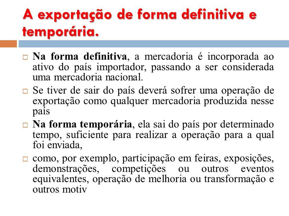 A exportação de forma definitiva e temporária.