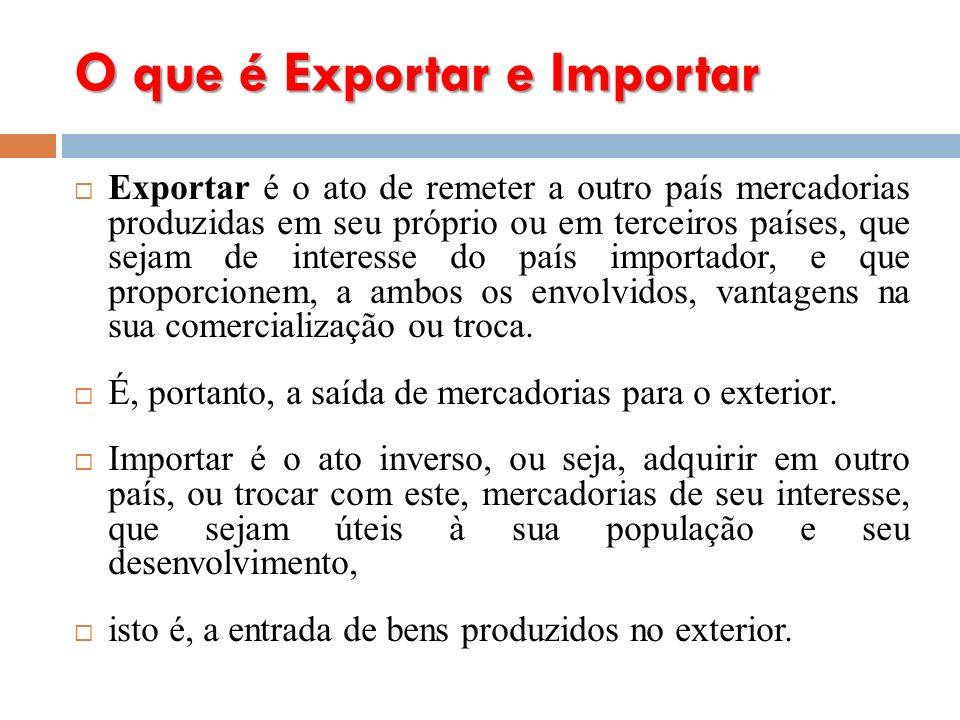 O que é Exportar e Importar Exportar é o ato de remeter a outro país mercadorias produzidas em seu próprio ou em terceiros países, que sejam de interesse do país importador, e que proporcionem, a ambos os envolvidos, vantagens na sua comercialização ou troca.
