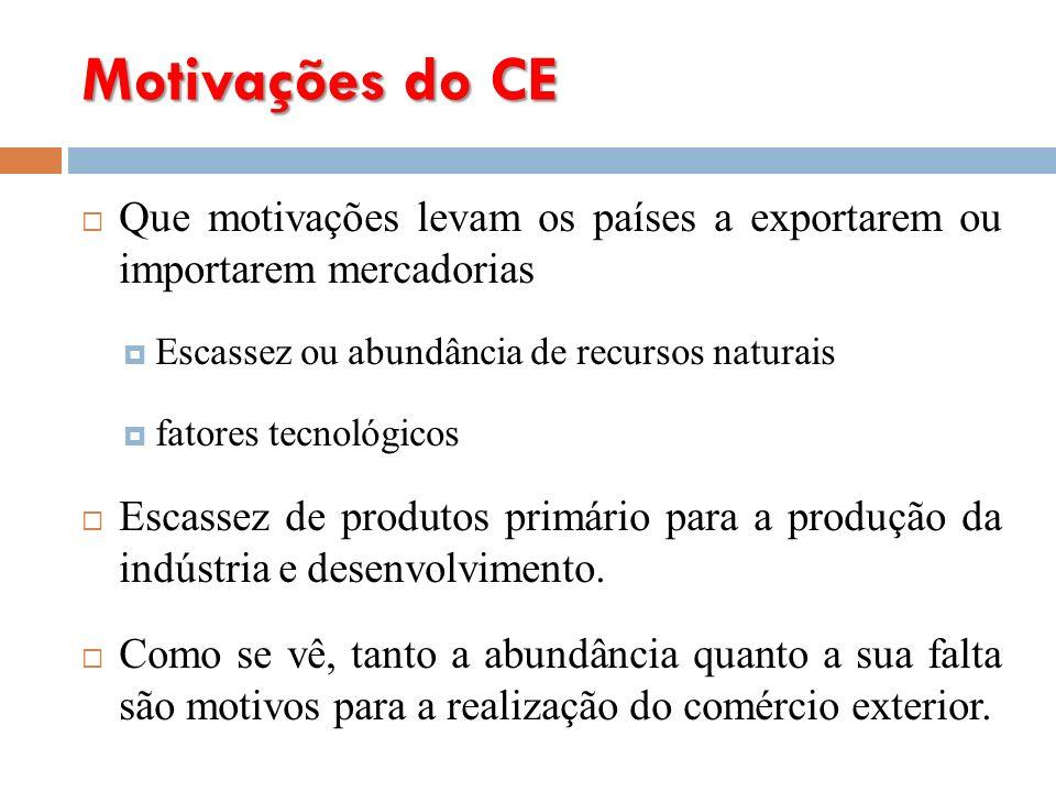 Motivações do CE Que motivações levam os países a exportarem ou importarem mercadorias Escassez ou abundância de recursos naturais fatores tecnológicos Escassez de produtos primário para a produção da indústria e desenvolvimento.