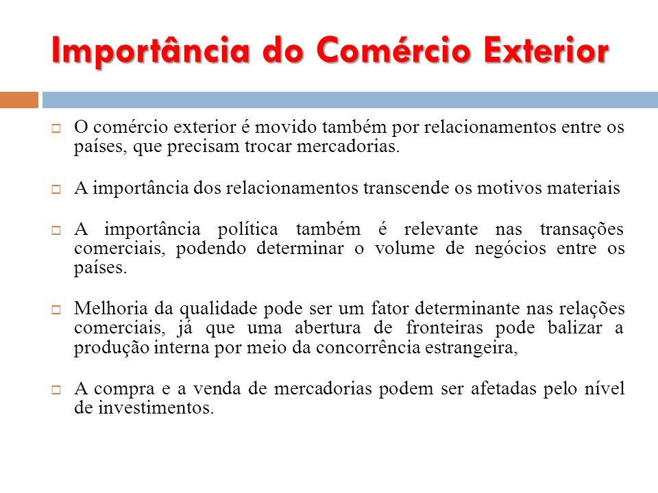 Importância do Comércio Exterior O comércio exterior é movido também por relacionamentos entre os países, que precisam trocar mercadorias.