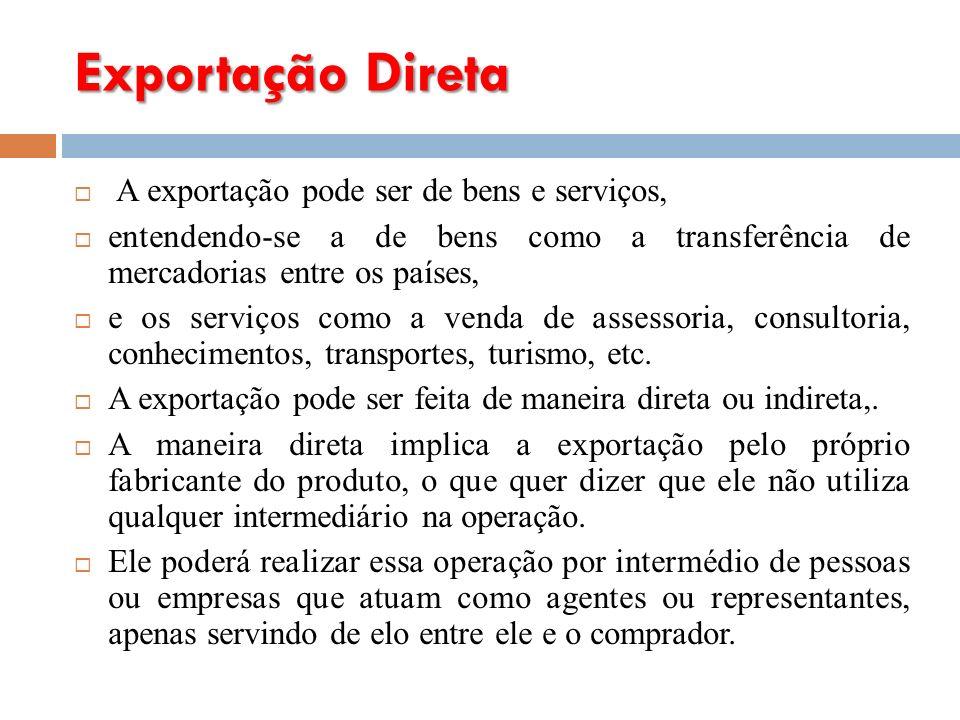 Exportação Direta A exportação pode ser de bens e serviços, entendendo-se a de bens como a transferência de mercadorias entre os países, e os serviços como a venda de assessoria, consultoria, conhecimentos, transportes, turismo, etc.