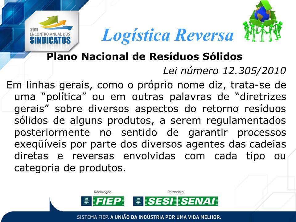 Logística Reversa Plano Nacional de Resíduos Sólidos Lei número 12.305/2010 Em linhas gerais, como o próprio nome diz, trata-se de uma política ou em