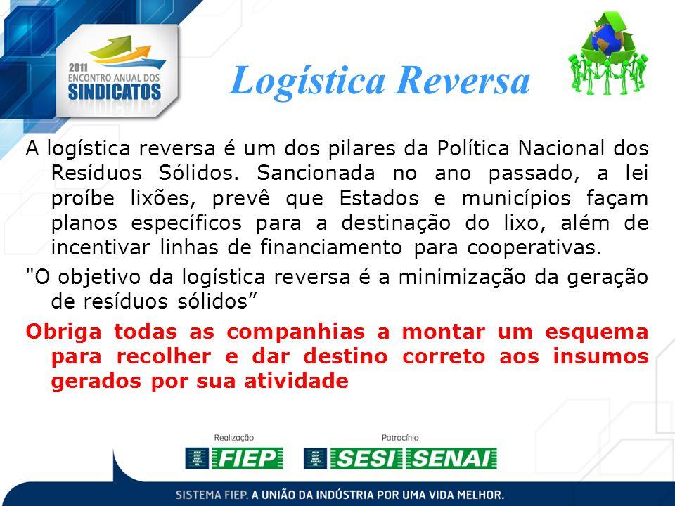 Logística Reversa A logística reversa é um dos pilares da Política Nacional dos Resíduos Sólidos. Sancionada no ano passado, a lei proíbe lixões, prev