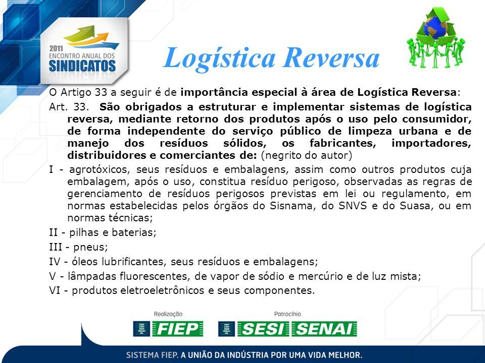 Logística Reversa O Artigo 33 a seguir é de importância especial à área de Logística Reversa: Art. 33. São obrigados a estruturar e implementar sistem