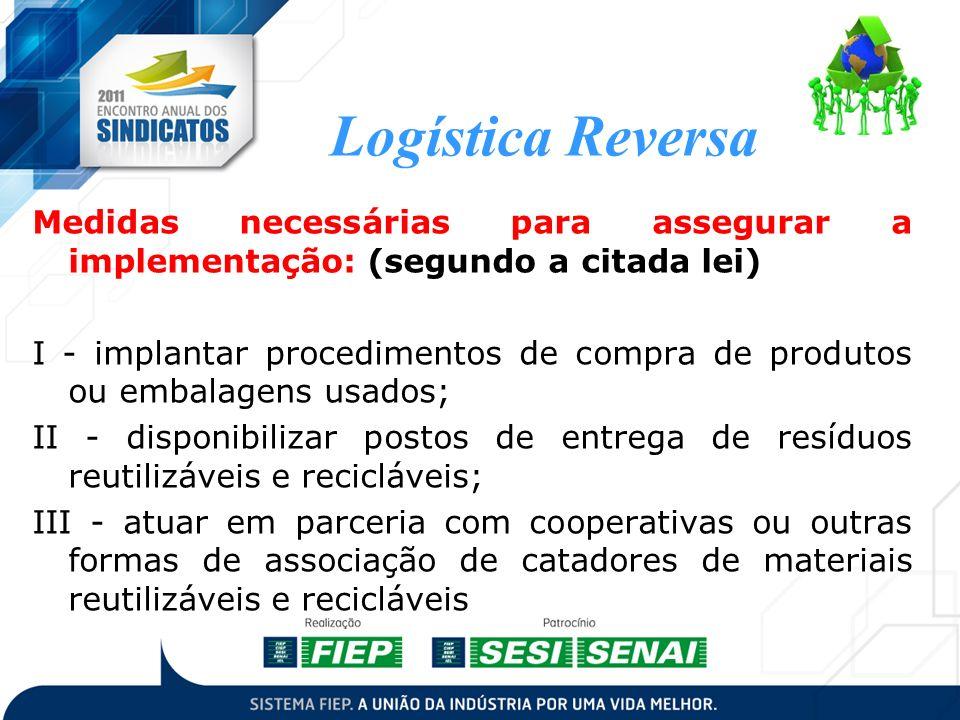 Logística Reversa Medidas necessárias para assegurar a implementação: (segundo a citada lei) I - implantar procedimentos de compra de produtos ou emba