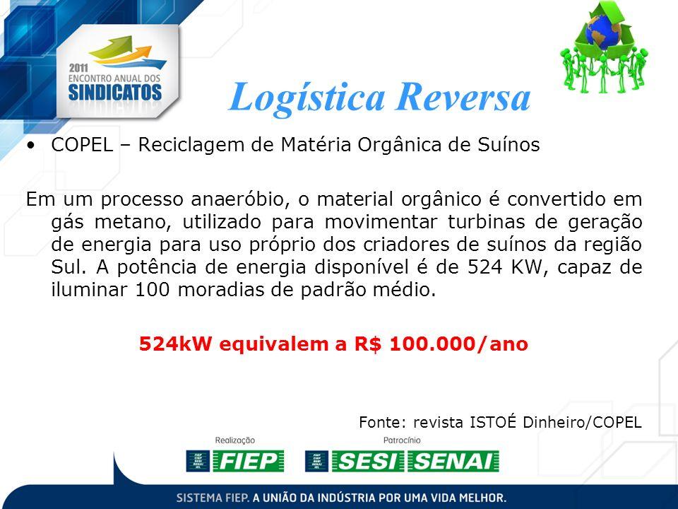 COPEL – Reciclagem de Matéria Orgânica de Suínos Em um processo anaeróbio, o material orgânico é convertido em gás metano, utilizado para movimentar t