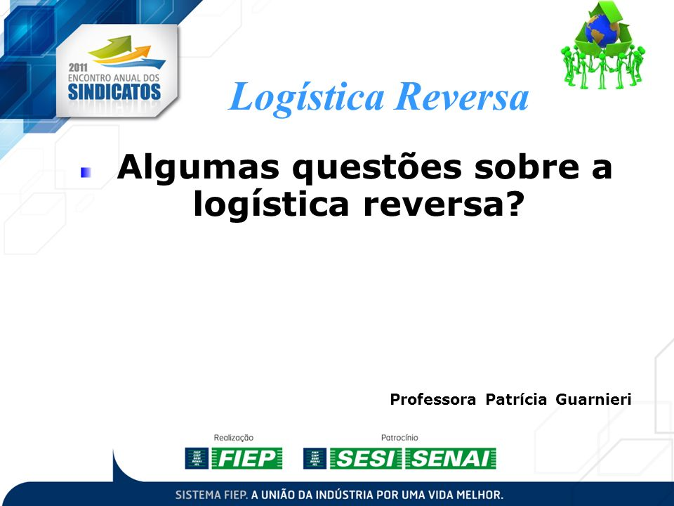 Algumas questões sobre a logística reversa? Logística Reversa Professora Patrícia Guarnieri