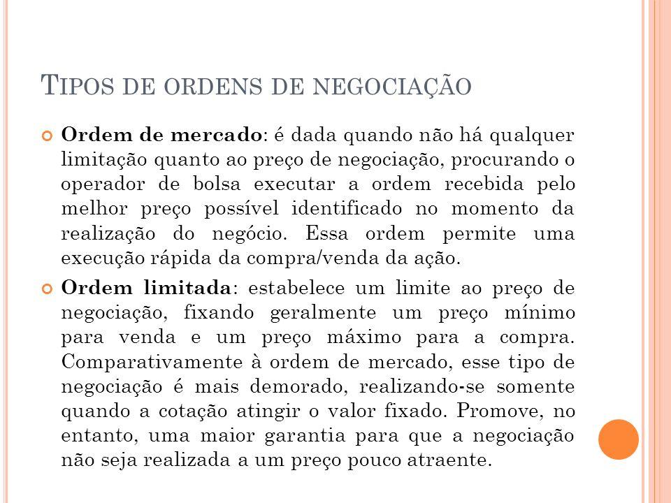 T IPOS DE ORDENS DE NEGOCIAÇÃO Ordem de mercado : é dada quando não há qualquer limitação quanto ao preço de negociação, procurando o operador de bols