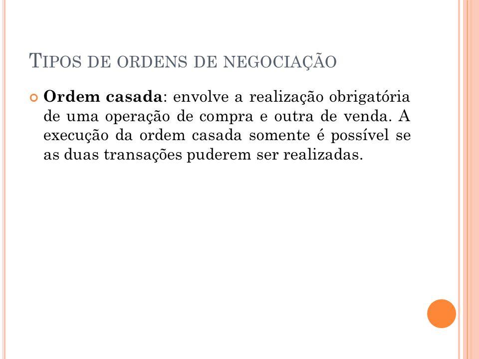 T IPOS DE ORDENS DE NEGOCIAÇÃO Ordem casada : envolve a realização obrigatória de uma operação de compra e outra de venda. A execução da ordem casada