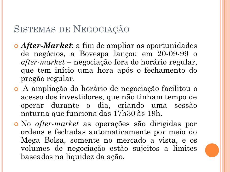 S ISTEMAS DE N EGOCIAÇÃO After-Market : a fim de ampliar as oportunidades de negócios, a Bovespa lançou em 20-09-99 o after-market – negociação fora d