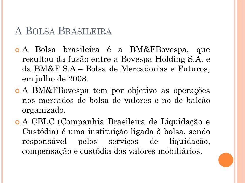 A B OLSA B RASILEIRA A Bolsa brasileira é a BM&FBovespa, que resultou da fusão entre a Bovespa Holding S.A. e da BM&F S.A.– Bolsa de Mercadorias e Fut