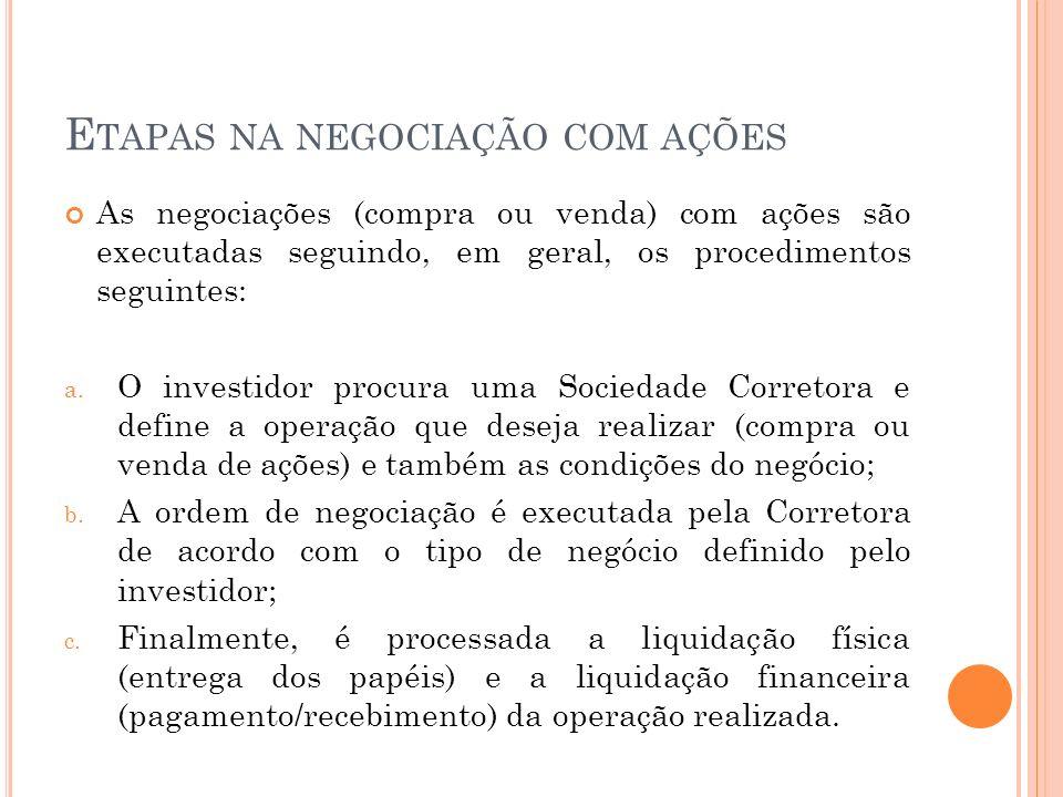 E TAPAS NA NEGOCIAÇÃO COM AÇÕES As negociações (compra ou venda) com ações são executadas seguindo, em geral, os procedimentos seguintes: a. O investi