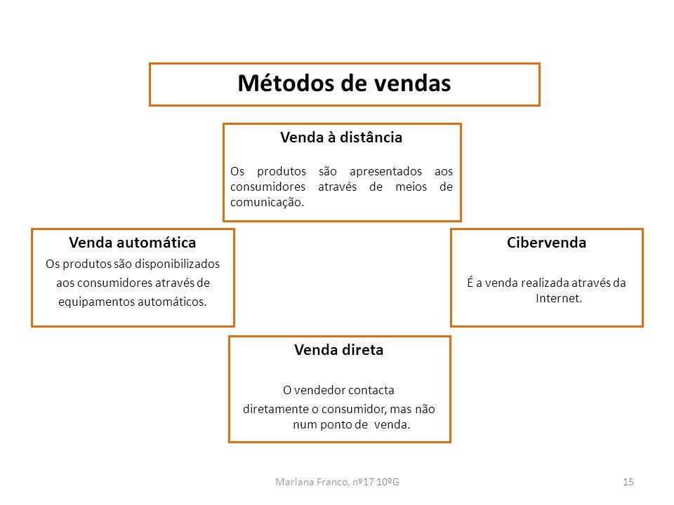 Mariana Franco, nº17 10ºG15 Métodos de vendas Venda à distância Os produtos são apresentados aos consumidores através de meios de comunicação. Venda a