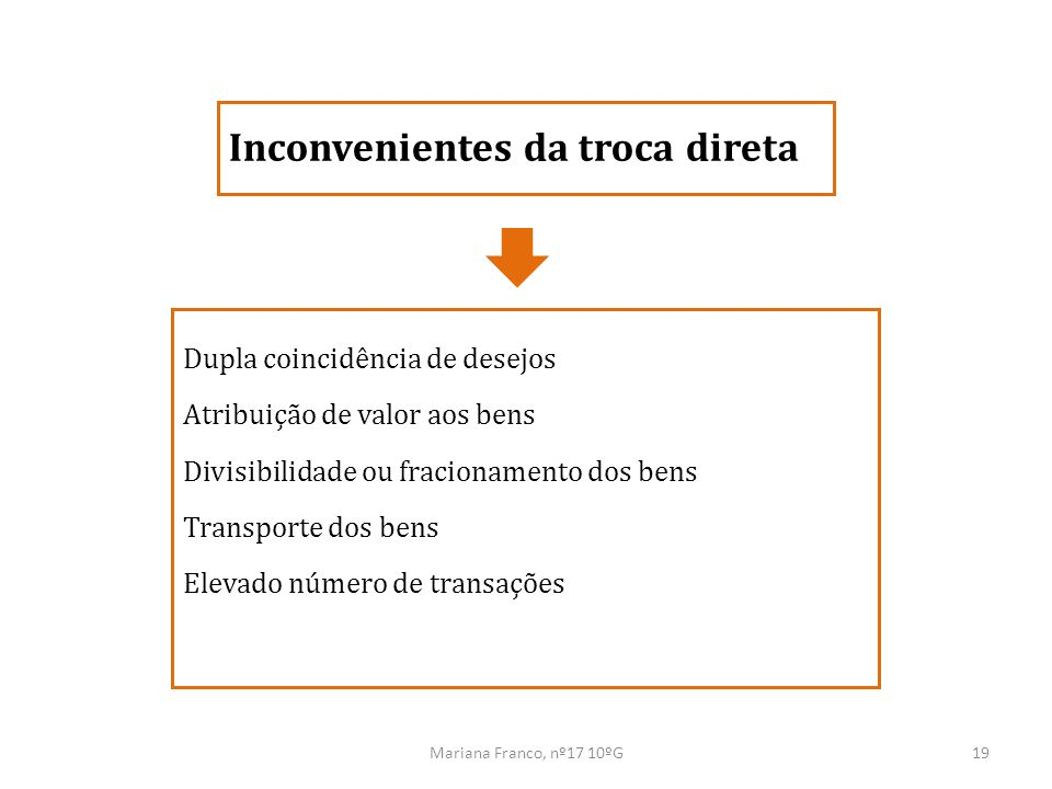 Mariana Franco, nº17 10ºG19 Dupla coincidência de desejos Atribuição de valor aos bens Divisibilidade ou fracionamento dos bens Transporte dos bens El