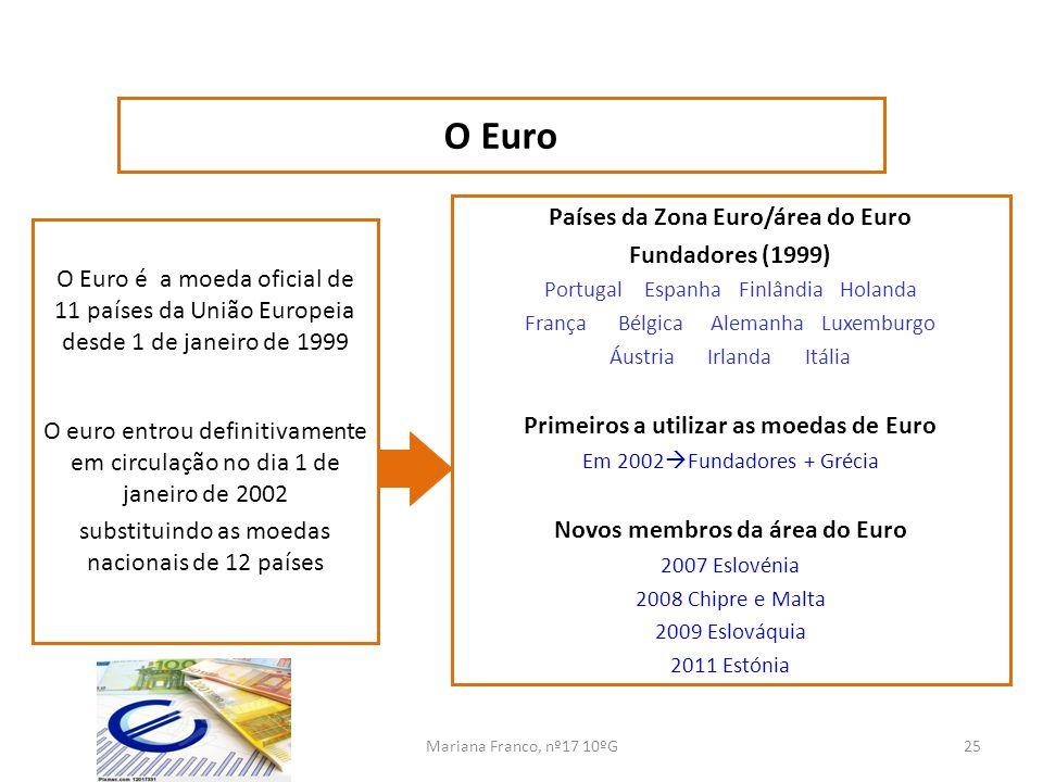 Mariana Franco, nº17 10ºG25 O Euro é a moeda oficial de 11 países da União Europeia desde 1 de janeiro de 1999 O euro entrou definitivamente em circul