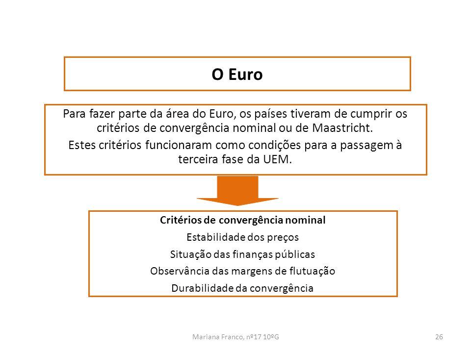 Mariana Franco, nº17 10ºG26 Para fazer parte da área do Euro, os países tiveram de cumprir os critérios de convergência nominal ou de Maastricht. Este