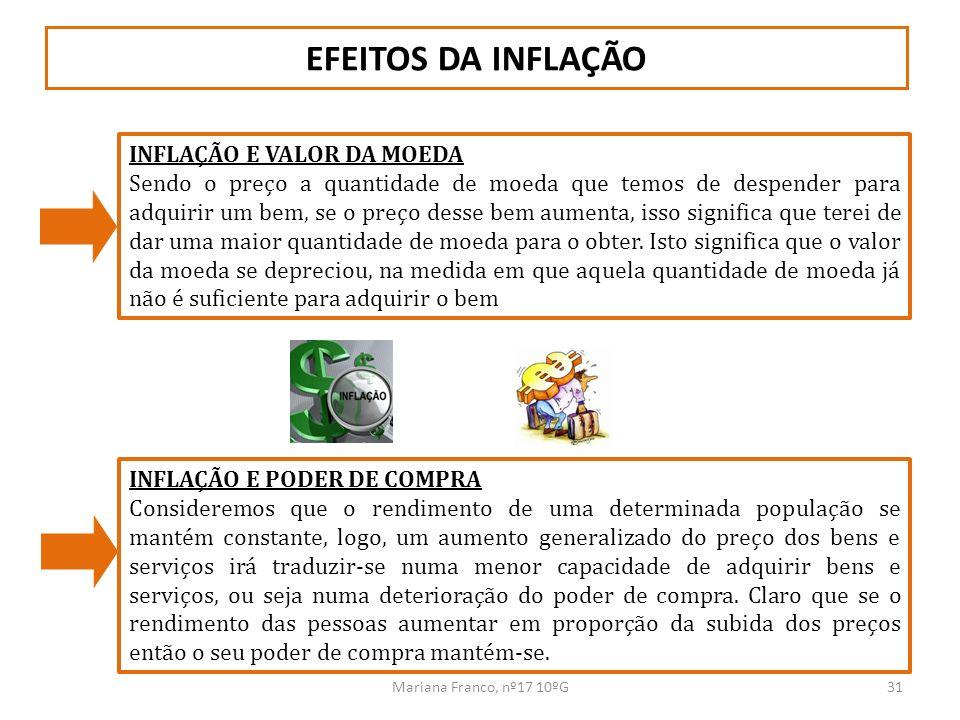 Mariana Franco, nº17 10ºG31 EFEITOS DA INFLAÇÃO INFLAÇÃO E VALOR DA MOEDA Sendo o preço a quantidade de moeda que temos de despender para adquirir um