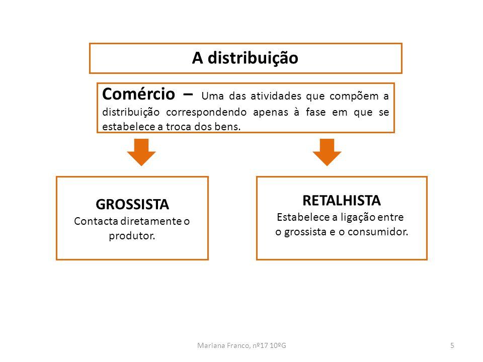 Mariana Franco, nº17 10ºG5 A distribuição RETALHISTA Estabelece a ligação entre o grossista e o consumidor. Comércio – Uma das atividades que compõem