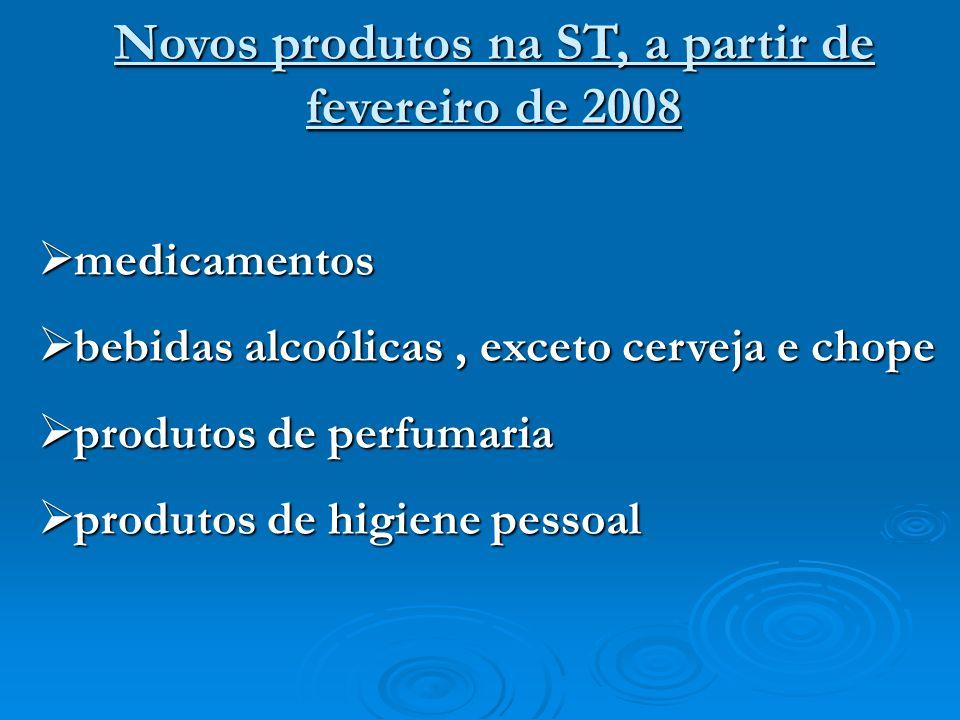 Novos produtos na ST, a partir de fevereiro de 2008 medicamentos medicamentos bebidas alcoólicas, exceto cerveja e chope bebidas alcoólicas, exceto ce