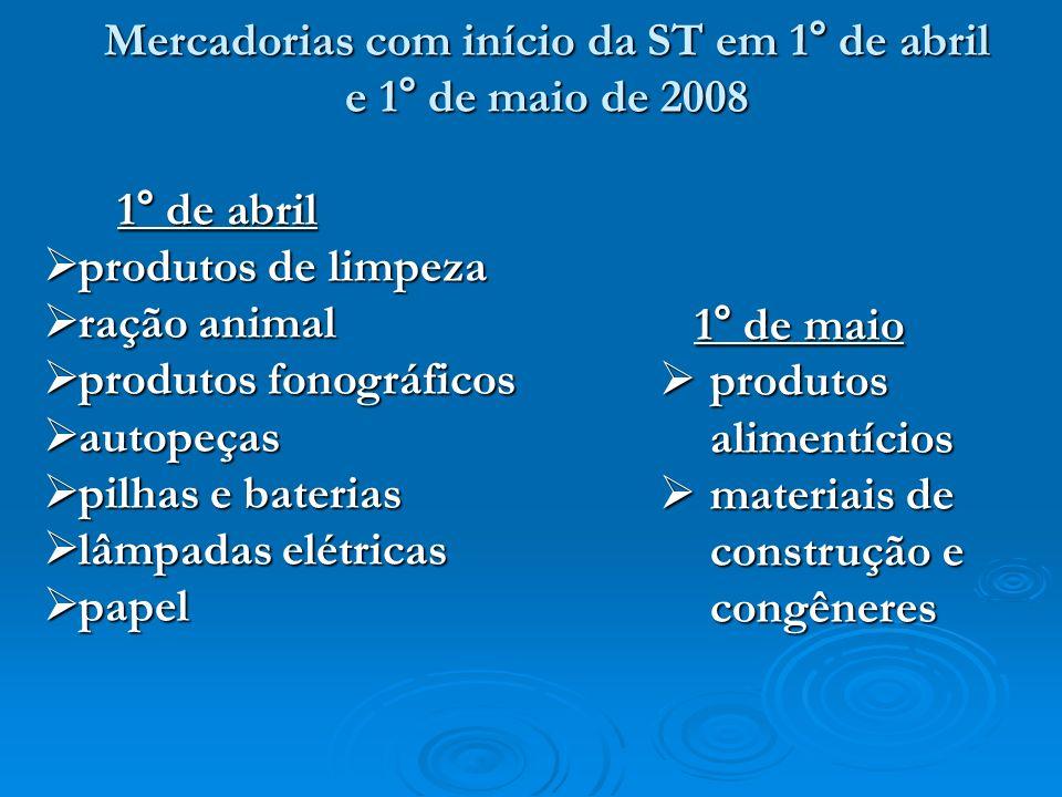 Mercadorias com início da ST em 1° de abril e 1° de maio de 2008 1° de abril produtos de limpeza produtos de limpeza ração animal ração animal produto