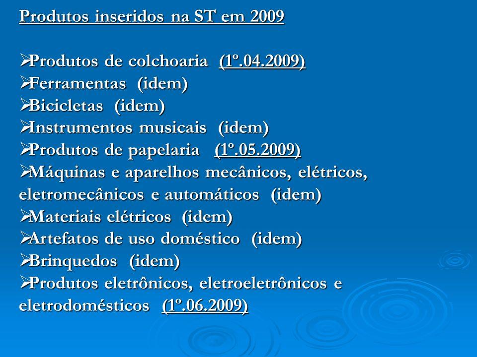 Produtos inseridos na ST em 2009 Produtos de colchoaria (1º.04.2009) Produtos de colchoaria (1º.04.2009) Ferramentas (idem) Ferramentas (idem) Bicicle