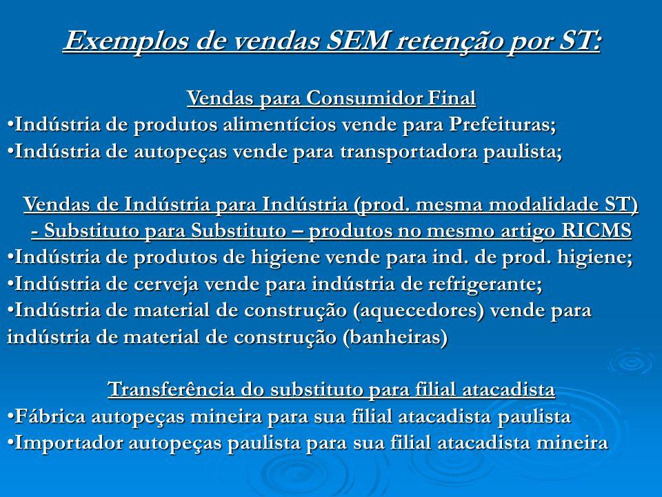 Exemplos de vendas SEM retenção por ST: Vendas para Consumidor Final Indústria de produtos alimentícios vende para Prefeituras;Indústria de produtos a